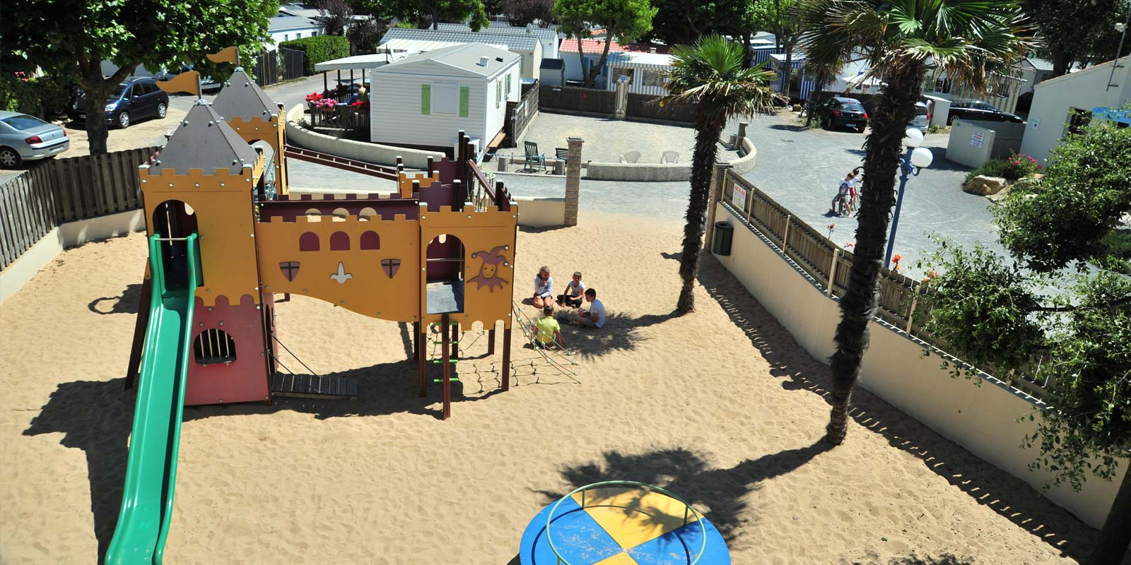 Aerial view of the campsite playground at Saint-Hilaire in Vendée