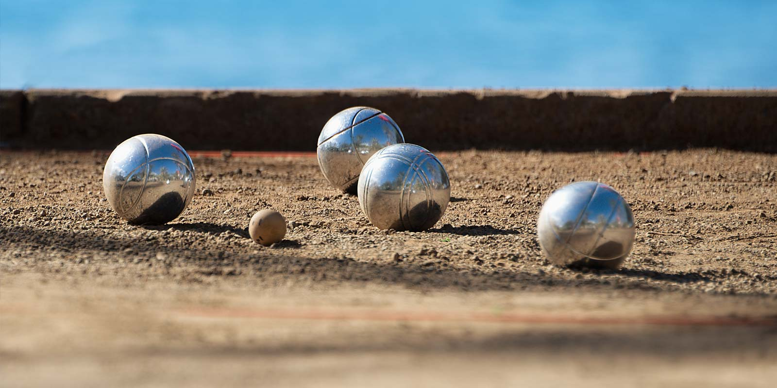 Petanque ball on the boules pitch of Le Bois Tordu campsite in Vendée